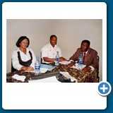 Mrs Leshi Olawunmi and Mr Magnus Obilor of Forestry Research Institute, Ibadan at a Seminar with Dr. Adebowale.